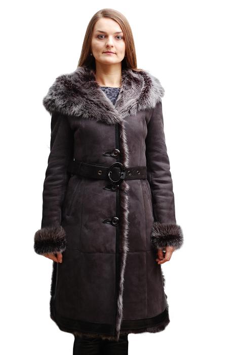 Натуральная женская зимняя дубленка с мехом тоскана hrm1184