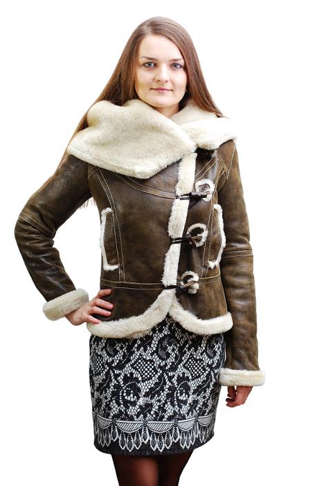Натуральная женская зимняя дубленка с мехом овчина tsv2021