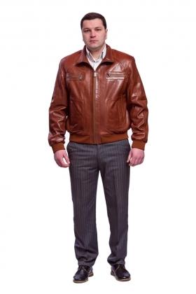 Кожаная куртка рыжего цвета glp-1524
