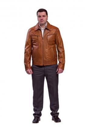 Кожаная куртка цвет виски на змейке mrl-946