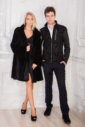 Куртка с накатом из натуральной кожи 1527B