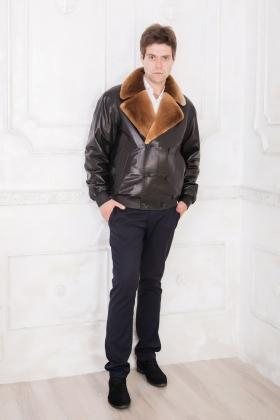Мужской кожаный пуховик с красивым воротником (бобер)    glp-1341