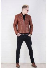 Мужская кожаная куртка коричневого цвета glp-1527