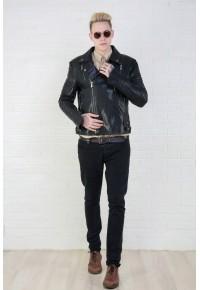 Мужская кожаная куртка,косуха чёрного цвета glp 1603