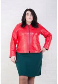 Женская кожаная куртка красного цвета psd 343