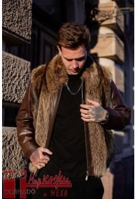 Кожаная куртка с мехом Glp591