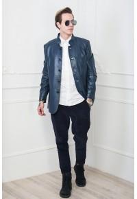 Кожаная куртка синего цвета glp 586
