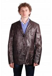 Мужской коричневый кожаный пиджак Кроко glp AS-6