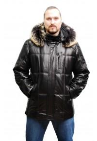 Утеплённая мужская куртка из натуральной кожи с отстёгивающимся капюшоном glp-1060
