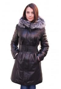 Пуховик с капюшоном кожаный женский glp-5021