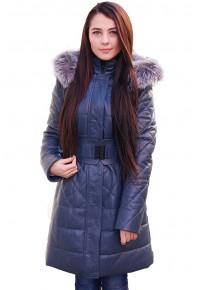 Женский кожаный пуховик с капюшоном синий glp-2600