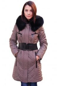 Женский кожаный пуховик серого цвета glp-2559