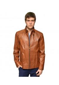 Кожаная мужская куртка рыжего цвета Кроко glp-1305