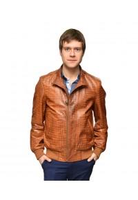 Мужская кожаная куртка коричневого цвета Кроко glp-jasou