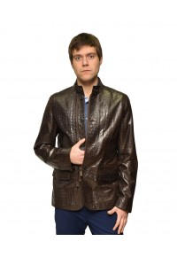 Коричневая мужская кожаная куртка Кроко glp-1312
