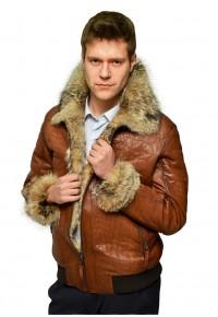 Кожаная утепленная куртка с мехом волка glp-2368