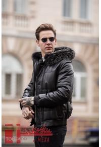 """Мужской кожаный """" пуховик"""" с капюшоном Glp 1042"""